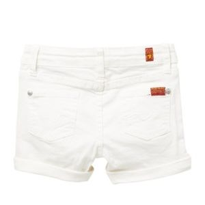 """7 For All Mankind Girls White 3"""" Roll Cuff Shorts"""